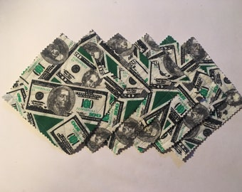 Dollar bills flannel coasters, set of 6