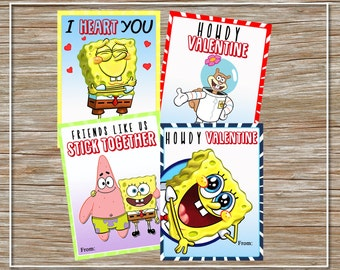 INSTANT DOWNLOAD - Printable Spongebob Valentine Cards - set of 4