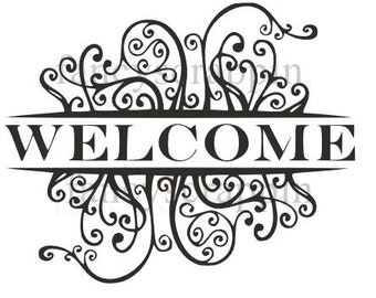 """Beautiful """"WELCOME"""" Sign SVG Cutting File"""