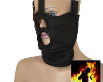 Leather mask with opening