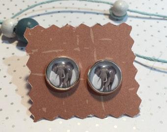 Cabochon de boucles d'oreilles «elephant éléphant»