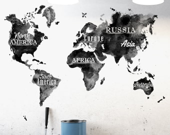 World map wall decal etsy watercolor black white world map wall decal gumiabroncs Image collections