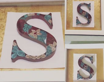 Quilled Paper Initial Framed Gift