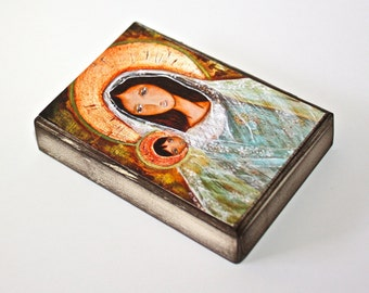 Old World Madonna with Child - Aceo Giclee print mounted on Wood (2.5 x 3.5 inches) Folk Art  by FLOR LARIOS