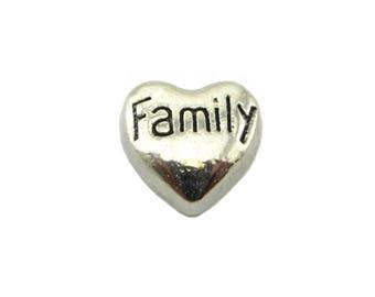Family Heart Floating Charm for Glass Memory Locket FC28 - 1 Charm