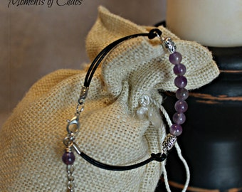 Leather and Amethyst bracelet