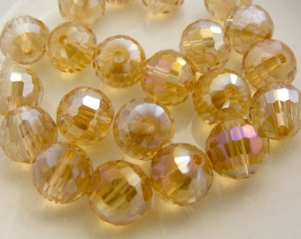 Crystal Beads 10mm Faceted Round Disco Balls Amber AB (Qty 6) PH-DB10-A