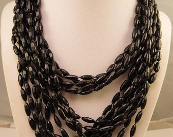Five Strand Black Faceted Plastic Bead Necklace 1950-60s