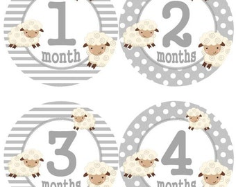 Baby Monthly Milestone Growth Stickers Grey Lamb MS515 Nursery Theme Baby Boy Girl Shower Gift Baby Photo Prop