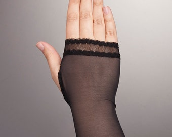 Simple Short BLACK Fingerless Gloves, Black Short Gloves, Lace Gloves, Short Lace Gloves,Lace Short Gloves in Black, Evening Gloves