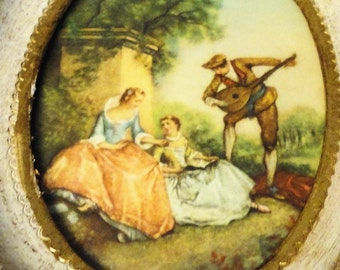 Lancret Miniature The Music Lesson Made in Italy Picture Wall Hanging Vintage Home Decor