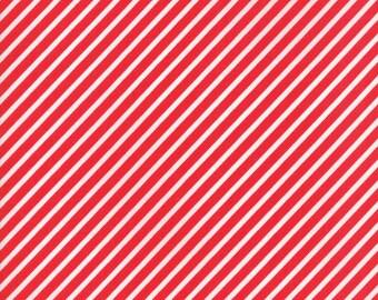 VINTAGE HOLIDAY Bonnie & Camille Vintage Christmas Bias Candy Stripe Red 1 Yard Moda Fabric