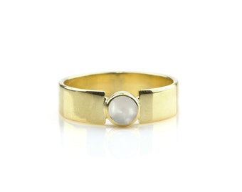 MOTHER'S DAY GIFT - Pearl ring,gold ring,bezel ring,freshwater pearl ring,wide band,wide ring,thick ring,solid gold ring,handmade ring