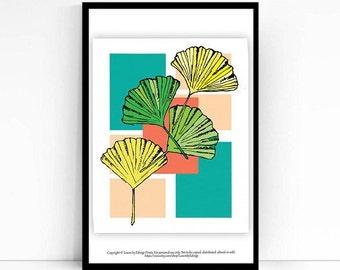 Ginkgo leaf print - 8x10 inch artwork - ginkgo leaves illustration - spring home decor wall art - nature inspired housewarming gift - arte