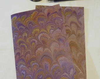 Purple, gold and orange hand marbled paper hand sewn notebook, lined interior paper