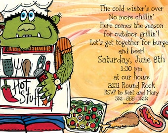 Monster BBQ Invitation, Backyard Barbecue Invite, Cookout Family Party, Picnic, Hotdog,Hamburger,Party Announcement,Original Design FBISN101