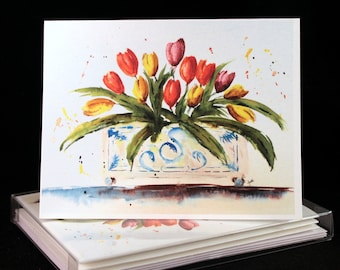 Tulips in planter Original Watercolor PRINT Note Card Set, Watercolor Cards, Spring Flower  Cards, Watercolor Tulip Cards, Tulip Cards