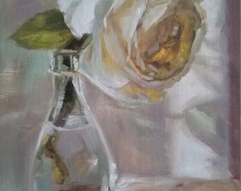 Backlit white rose