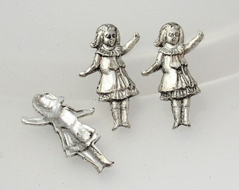 4pcs--Little Girl, Brass Stamping, Antique Silver, 22x14mm (B22-15)