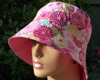 Womens Chemo Hats Cancer Hat Bucket Hat Alopecia Hat Beach Hat Reversible. Made in the USA MEDIUM