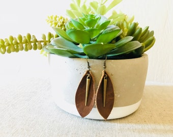 Long Teardrop Leather Earrings with Antique Bronze Cone Dangle.