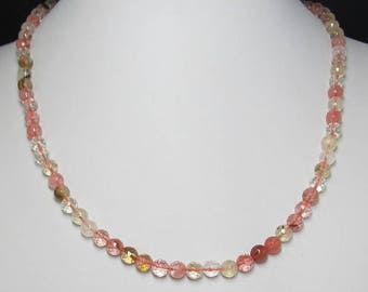 Multicolor Cherry Quartz faceted and 925 Silver 19 inch Necklace