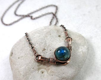 Kyanite Necklace, Throat Chakra, Energy Stone Necklace, Gemstone Necklace, Hammered Wire Jewelry, Kyanite Jewelry, Copper, Sterling Silver