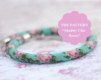 Bead crochet rope pattern Bead crochet necklace pattern Shabby Chic Style Floral pattern Bead crochet roses pattern Chudibeads