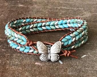 Handmade wrap bracelet.