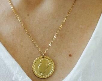 koala gold Necklace , small animal charm koala pendant , minimalist bear necklace , gift to best friend , sister , accessories birthday