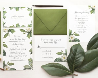 Vintage Botanical Magnolia and Calligraphy Wedding Invitation Suite