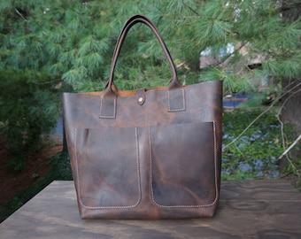 large bag.leather tote .leather tote bag. leather bag . handmade tote bag . custom leather bag .brown leather tote.large tote.tote bag sale