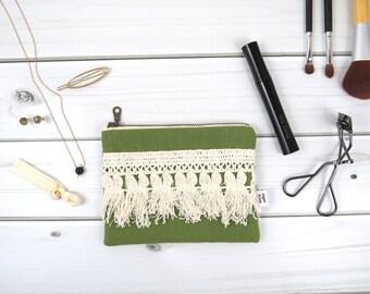 Linen Lace clutch zipper pouch small size - ELLIE in Sage - vintage cotton lace, linen cosmetic bag, passport case