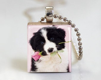 Black and White Puppy Dog - Scrabble Tile Pendant - Free Ball Chain Necklace or Key Ring