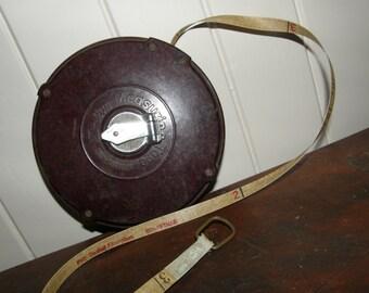 vintage bakelite measuring tape / osaka z-lon measuring tape / pvc coated measuring tape / surveyors tape / office / study / man cave