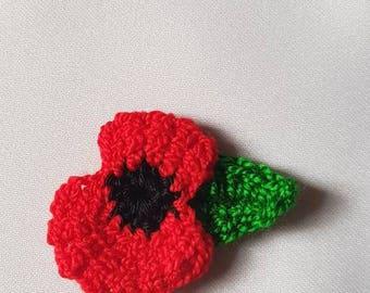 Poppy flower, crochet poppy flower brooch