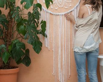 Dream catcher wall hanging,White dreamcatcher,FirstDance,wedding decor,Balance Mandala Tapestry wall hanging,wedding giftr,rustic home decor