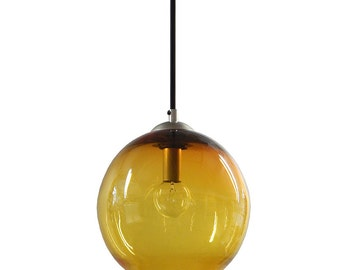 Honey Gold  Gumball Hanging Art Glass Pendant Diffuser Globe Light by Rebecca Zhukov