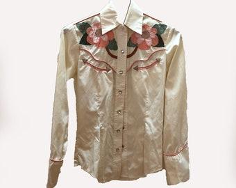 SALAMINDER Vintage Western Long-Sleeve Shirt Top Size S