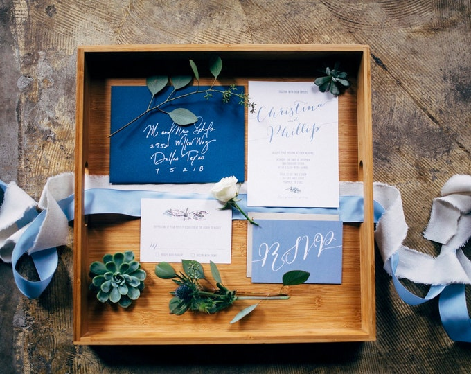 SAMPLE 5x7 Navy Earthy Greenery Natural Wood Wedding Invitation and RSVP. Customize this Invite with Your Colors!