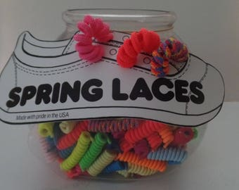Shoelaces Fun Spring Coils. 200 Coils in Fishbowl Display