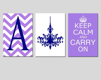 Keep Calm Carry On, Chevron Monogram Initial, Chandelier Trio - Set of Three 11x17 Prints - Teen - Kids Wall Art - Choose Your Colors