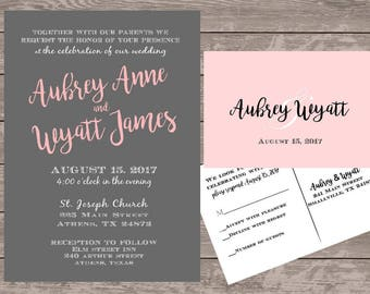 Pink and grey wedding invitations, Monogram wedding invitations, custom wedding invite card