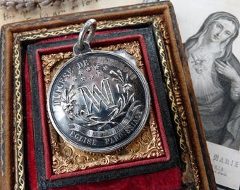 SALE:  Rare 1800s Antique French Baptism Communion Medal, offered by RusticGypsyCreations