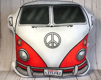 Volkswagen Van Pillow, VW Camper Van, Hippie Bus, VW Lover Gifts, Classic Car Gifts, VW Home Decor, Camping Lover Gift, Car Plush Toy Pillow