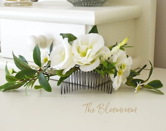 lush floral hair comb white green fresh look bridal hair vine wedding flower comb silk flowers hairpiece decorative flower hair accessories