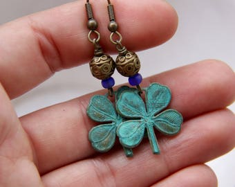 Gypsy Clover - Patina 4-Leaf Clover Earrings with Bali Gold Bead