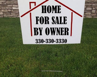 Home For Sale By Owner Yard sign With Yard Stake, House For Sale Sign, Custom Corrugated Yard Sign, Custom Yard Signs, 18 x 24 Yard Sign