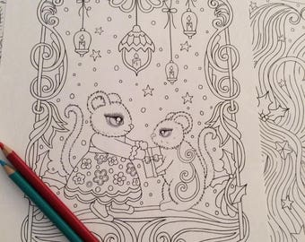 Cute Mice Coloring Page Christmas