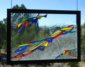"""from the collection of the artist Craig Young """"CLATTER"""" stained glass window panel, hand blown glass, ooak stained glass, 27 1/2 x 38 3/4"""